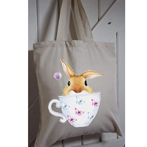 Eco tote bag made from recycled plastic bottles rabbit watercolour eco tote bag made from recycled plastic bottles rabbit watercolour print long handles rabbit negle Images