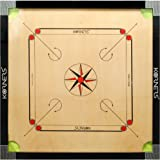 KORNERS Full Size(Large) 32' Inch 6mm Matte Finish Cut Pocket Carrom Board with Coins, Striker, Powder & Cover (Model- K32CUT03)