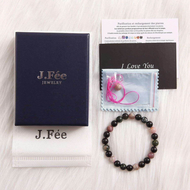 J.F/ée 8mm Bracelet de Pierres Pr/écieuses Bracelet Naturelle Cadeau de Saint Valentin Bracelet en Cristal Bracelet de /Élastique Cadeau Unisexe