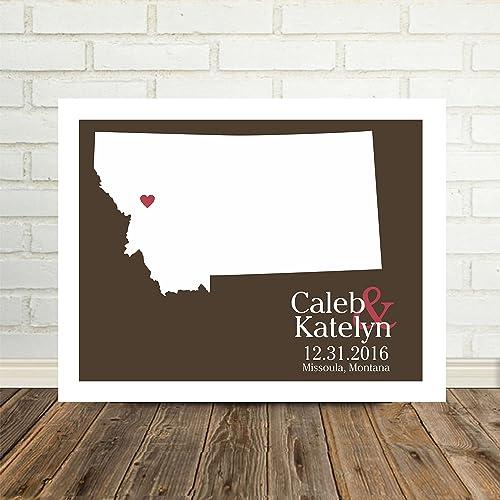 Amazon com: Montana State Map Personalized Montana Print
