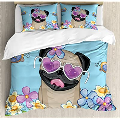 Ambesonne Pug Duvet Cover Set Twin Size Adorable Puppy On The Field