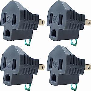 3 Prong to 2 Prong adapter, Polarized Grounding Converter, 3-Prong Plug adapter, ETL, Grey, 4 PACK