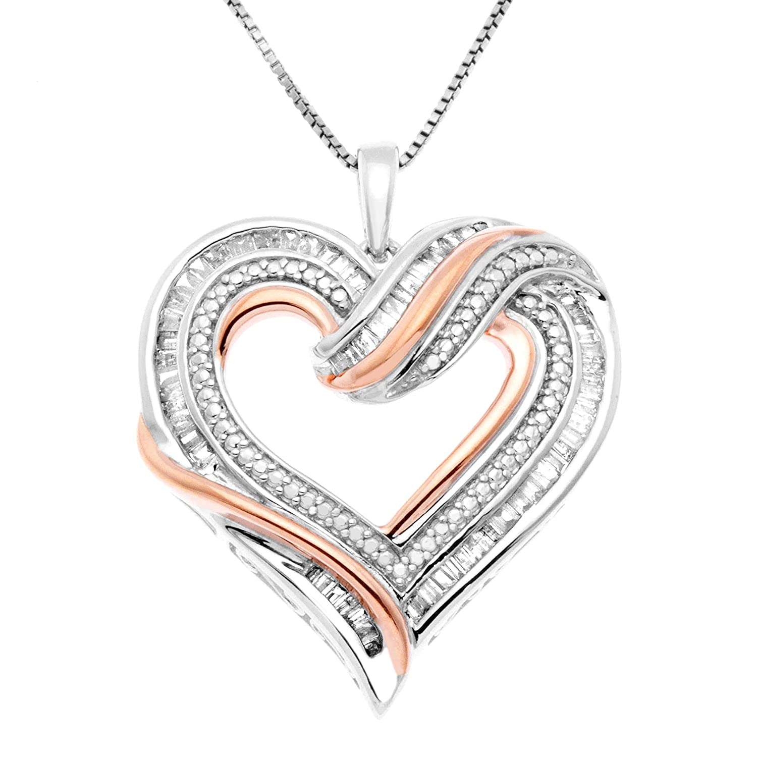 274298f327b Amazon.com  JewelExclusive Sterling Silver two-tone 1 2 CTTW Diamond Open Heart  Pendant  Jewelry