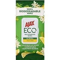 Ajax Eco Multipurpose Antibacterial Disinfectant Biodegradable Compostable Surface Cleaning Wipes Fresh Lemon Bulk Pack…