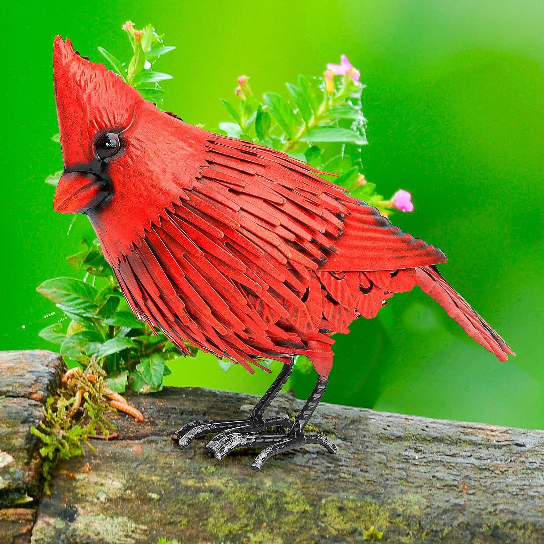 Cardinal Metal Bird Garden Decor - Large Red Bird Decoration - Metal Yard Art for Garden, Porch - Handmade, Hand Painted Weatherproof Collectible w/ Unique Realistic Design