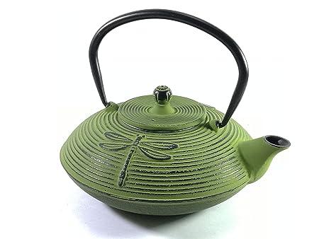 Buckingham Dragonfly Design Tetsubin Japanese Style Teapot 800 ml with  Stainless Steel Mesh Infuser, Cast Iron, Light Green