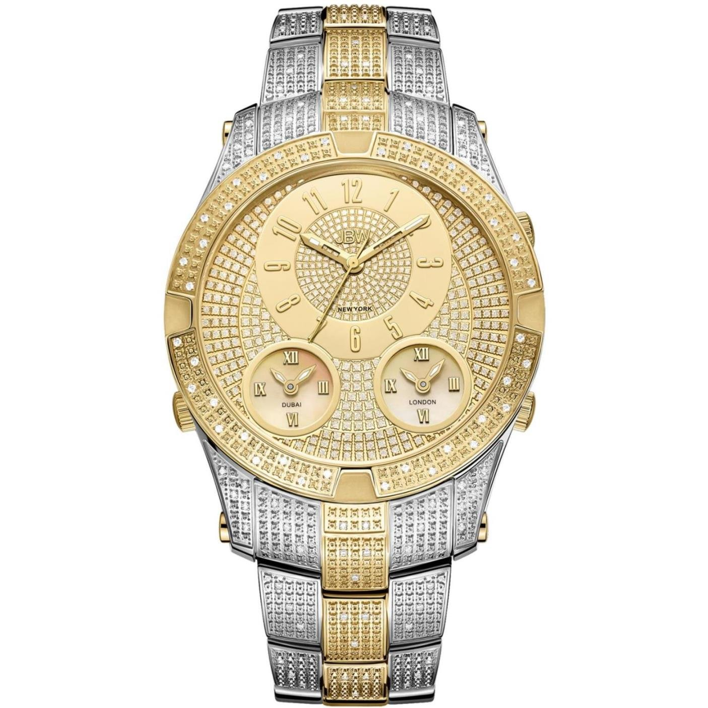JBW Luxury Men s Jet Setter III 1.18 ctw Diamond Wrist Watch with Stainless Steel Link Bracelet