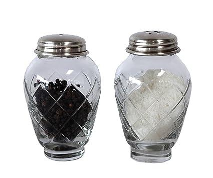 Clear Creative Co-Op DA4771 Glass and Brass Salt /& Pepper Shakers