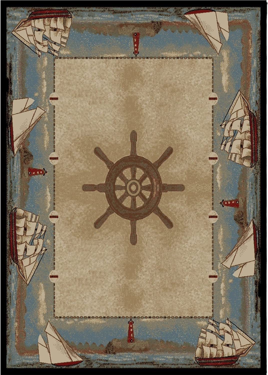 Indoor Outdoor Carpet Nautical Blue Boat Marine Patio Area Rug Rugs Carpets Home Garden