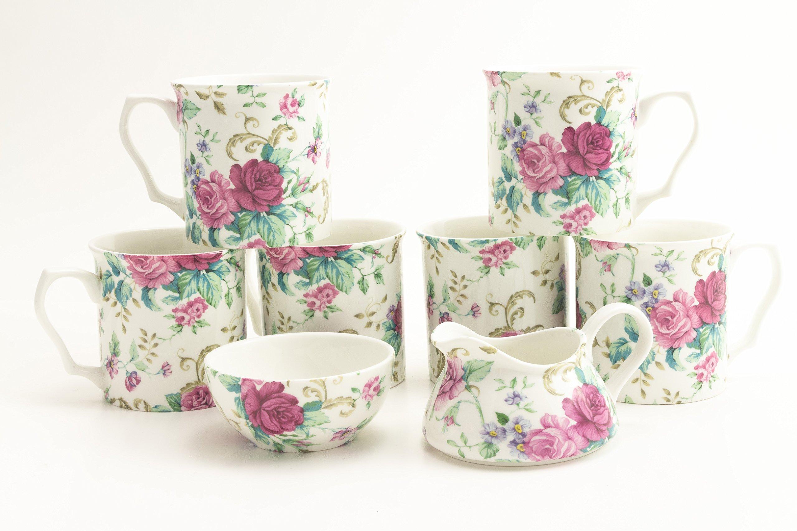 Country Roses Porcelain Gift Set - 6 Porcelain Mugs, 1 Sugar Bowl & Cream - by Shannonbridge Ireland