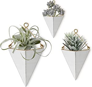 Karisky 3-Pack Wall Hanging Planter with Folding Hanger Indoor Outdoor Modern Home Decor Geometric Metal Container for Succulent Plants, Air Plant, Faux Plants, White