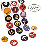 Halloween Favors Stickers Roll - Assorted Jack O Lantern Party Decorations Trick or Treat Goodie Bag Stuffer Filler - Pumpkin / Bats / Spiders / Witch