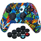 YoRHa Silicone Printing Thickened Cover Skin Case for Xbox Series X/S Controller x 1(Blue Graffiti) with Thumb Grips x 10