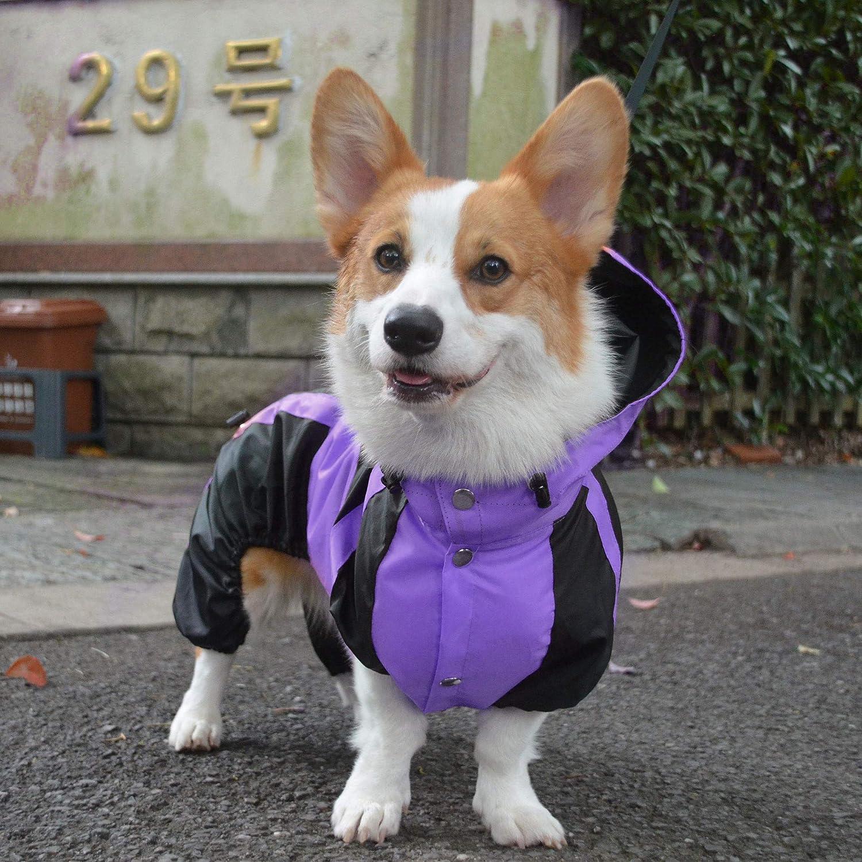 Golden Retriever Rain Jacket Poncho Waterproof Clothes with Hood Breathable 4 Feet Four Legs Rain Coats for Large Huge Dogs Green L-XL+ Lovelonglong Alaska Dog Hooded Raincoat
