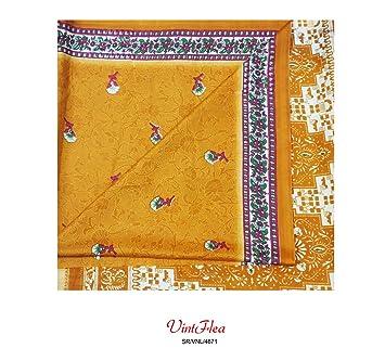 sari indio del vintage floral antiguo abrigo impreso tela sari amarillo usado las mujeres de tela ...