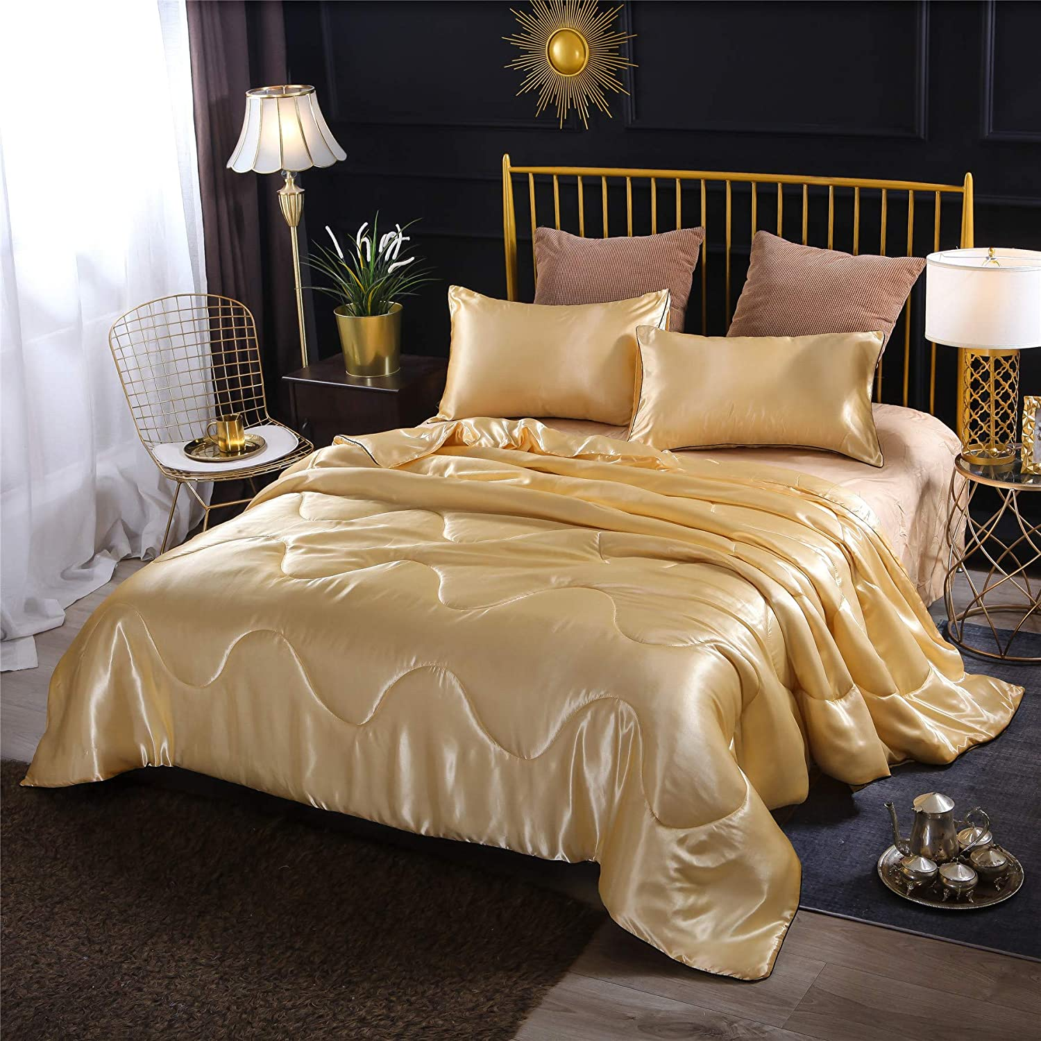 A Nice Night Satin Silky Soft Quilt Sexy Luxury Super Soft Microfiber Bedding Comforter Set Full/Queen, Light Weighted (Gold, Queen(88-by-88-inches))