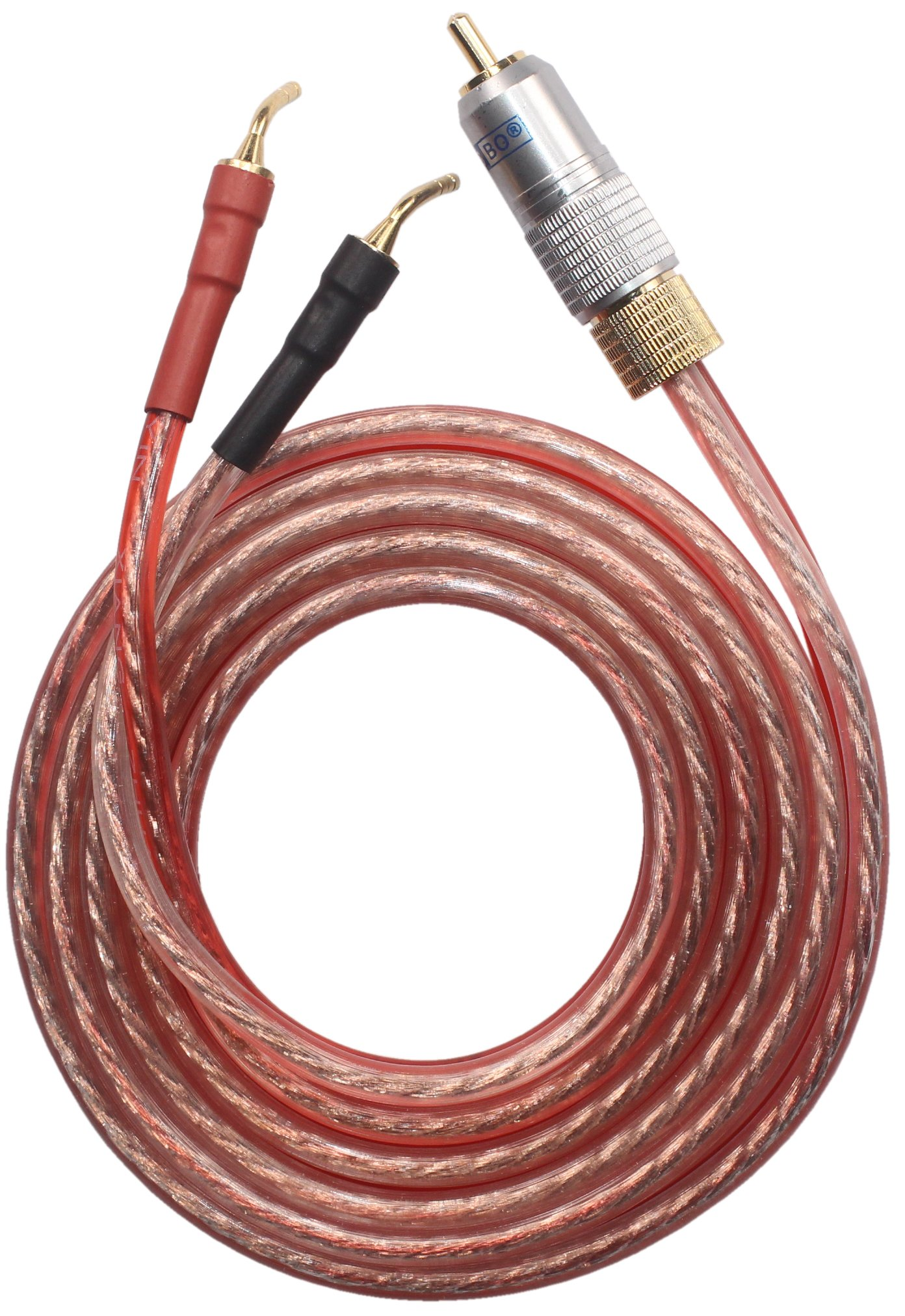 KZ-RZ Speaker wire pair with RCA Male to 2 pair Pin Type Plug(2 RCA Plugs & 4 Pin Plugs), OFC Wire, KZ-RZ (3M(9.84ft))