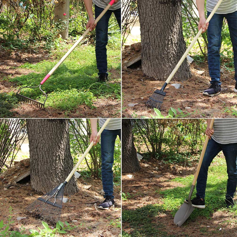 GardenAll 7-Pieces Women Garden Tools Set- Include 14Tine Bow Rake/11T Steel Rake/24T Steel Rake/Round Point Shovel/4 Tine Cultivator/Mini Round Point Shovel/Forged Garden Hoe by GardenAll (Image #6)