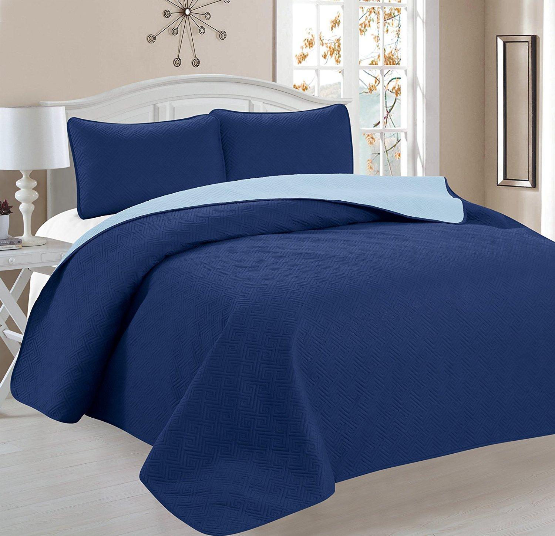Deluxe Greek Design Reversible 3pc Coverlet Quilt Set BedSpread – FULL/QUEEN Size – Blue / Light Blue