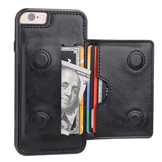 I Phone 6 I Phone 6 S Wallet Case With Credit Card Holder, Kihuwey Premium Leather Kickstand Durable Shockproof Protective Cover For I Phone 6/6 S 4.7 Inch(Black) by Kihuwey