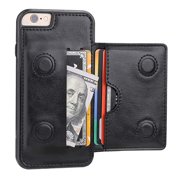 0ecc3a207e2 iPhone 6 iPhone 6S Wallet Case with Credit Card Holder, KIHUWEY Premium  Leather Kickstand Durable