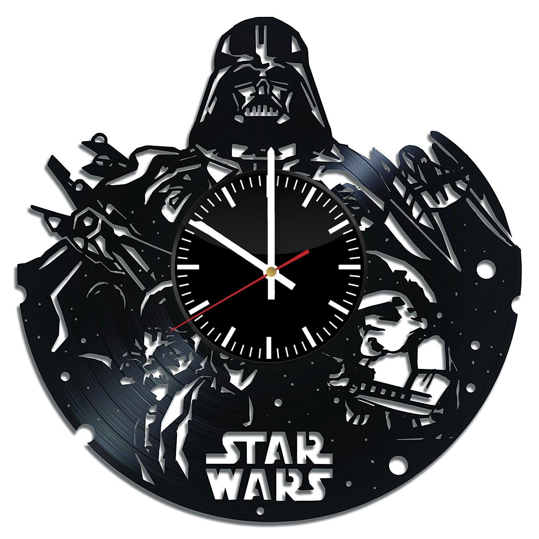 ダースベイダー Darth Vader アート ビニール レコード 壁掛け 時計 飾り 家 デザイン フィードバックのために賞を獲得します B01N5WITSB