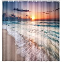 VeiVian Ocean Beach Shower Curtain, Tropical Sea Beach Ocean Waves Seaside Scene Island Hawaiian Sunrise Theme Shower…