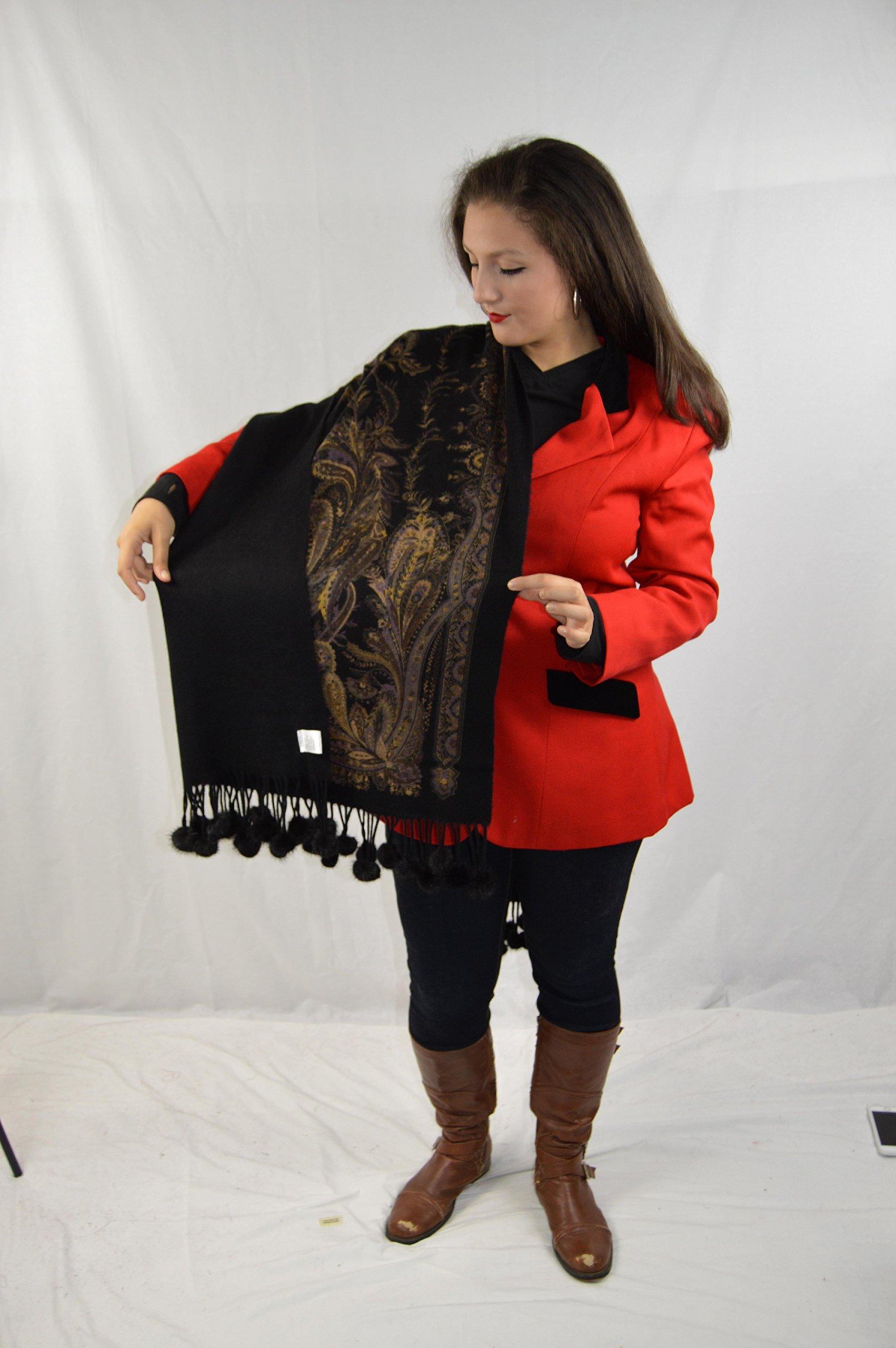 Cashmere Pashmina Group-Cashmere Shawl Scarf Wrap Stole (Solid/ Reversible Print w/ Genuine Fur) - Mink Black by Cashmere Pashmina Group (Image #5)