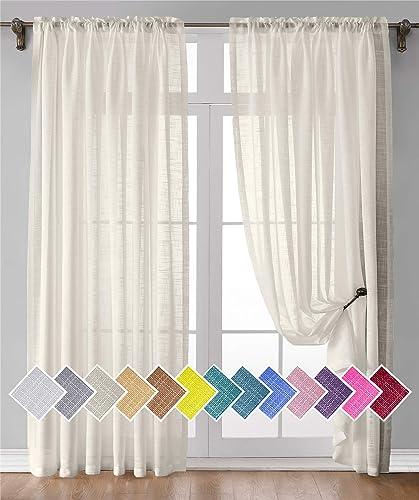 Natural Linen Curtain 63 Inches Long 2 Panels Light Filtering Semi Linen Textured Sheer Curtain Rod Pocket