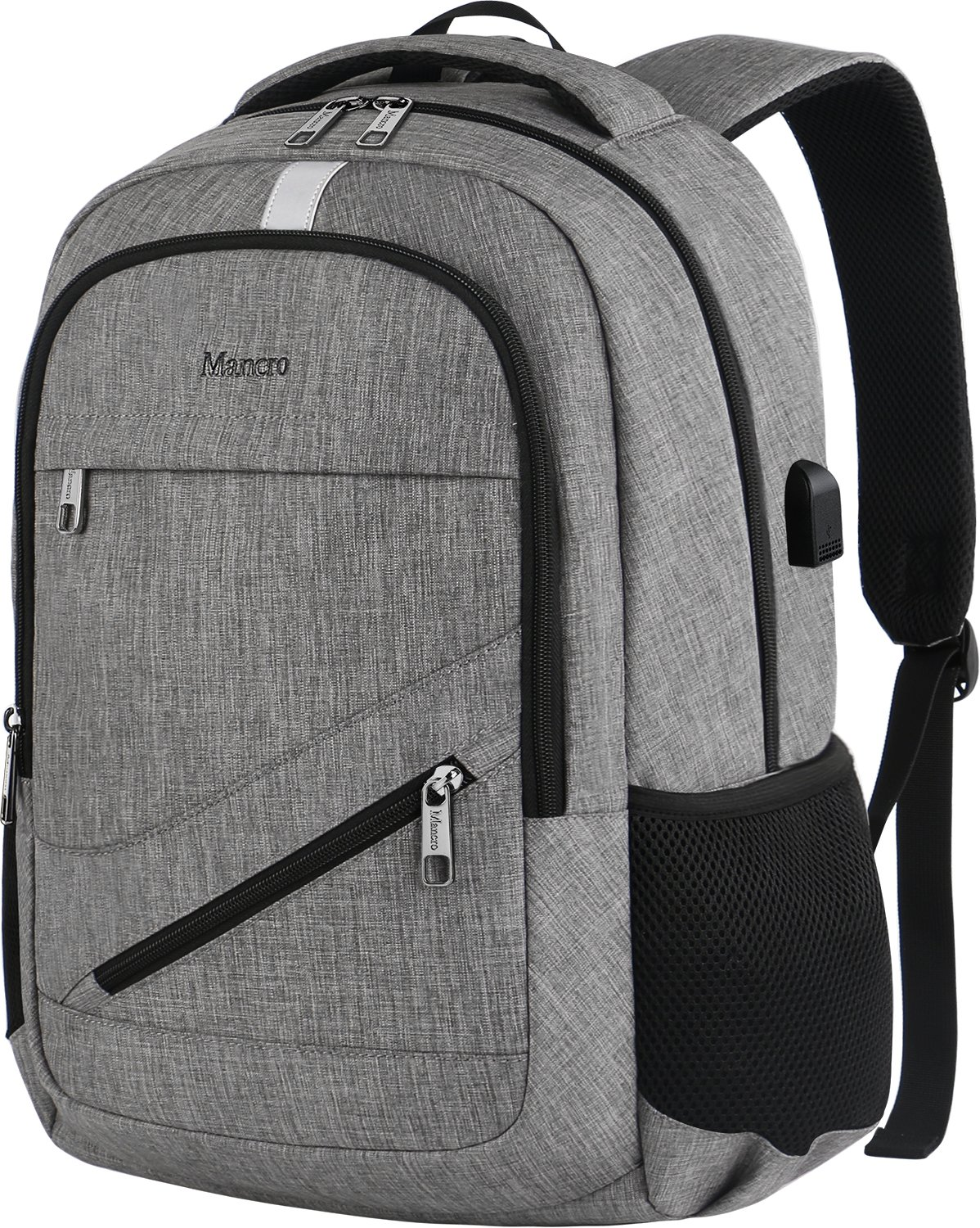 Travel Laptop Backpack, Mancro Anti Theft Durable College School Bag with USB Charger Port Fit Up to 17'' Laptop, Slim Business Water Resistent Lightweight Daypack for MacBook Computer Men Women(Grey)