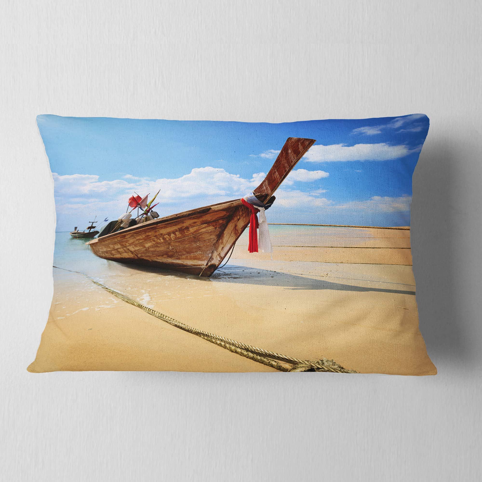 Designart CU8945-12-20 Thai Long Tail Boat' Beach and Shore Throw Lumbar Cushion Pillow Cover for Living Room, Sofa, 12 in. x 20 in.