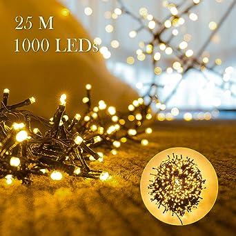 Stecker Für Weihnachtsbeleuchtung.1000er Leds Lichterkette 25m Led Weihnachtsbeleuchtung Innen Und Außen Kupferdraht Mit Eu Stecker 8 Modi Wasserdicht Für Weihnachten Garten Party
