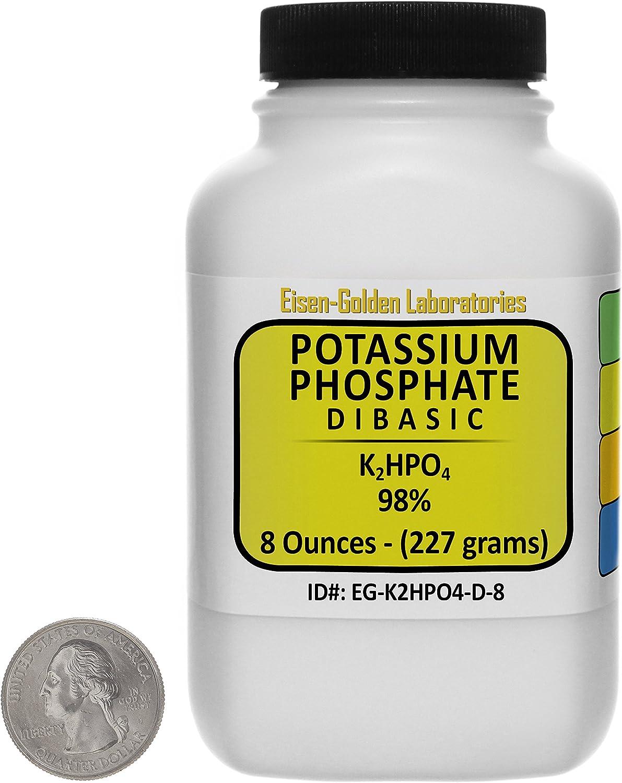 Potassium Phosphate Dibasic [K2HPO4] 98% Fine Powder 8 Oz in a Space-Saver Bottle USA