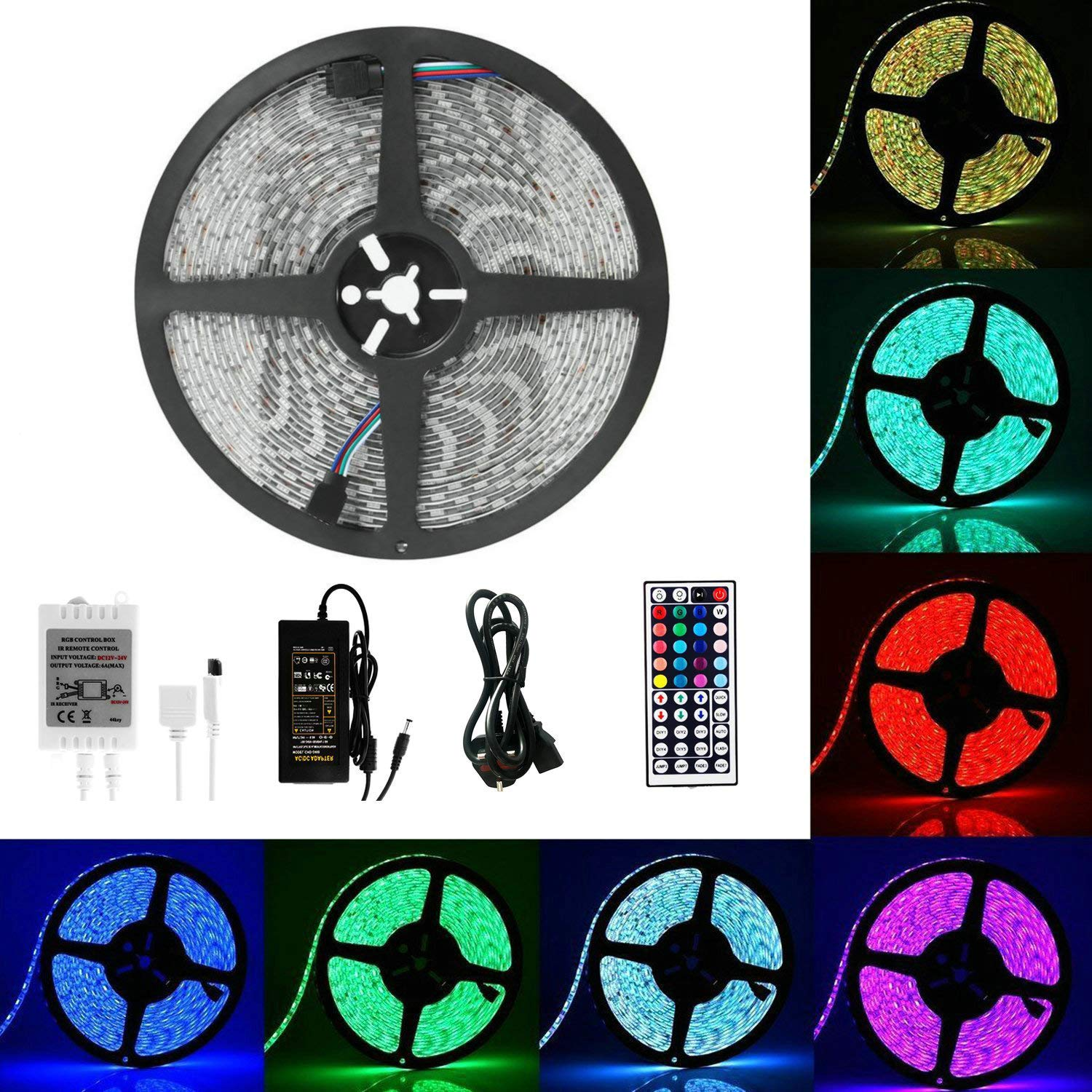 LED Strip Lights, Guaiboshi 5M RGB 5050 Waterproof LED Light Strips Color Changing Full Kit with 44-keys IR Remote Controller & 12V Power Supply LED Rope Lights for Home Christmas Indoor and Outdoor Decorate Lighting [Energy Class A+]