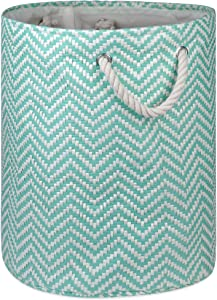 """DII Woven Paper Basket or Bin, Collapsible & Convenient Home Organization Solution for Bedroom, Bathroom, Dorm or Laundry(Large Round - 15x20""""), Aqua Checkered"""