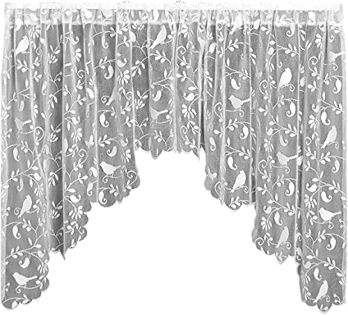 Heritage Lace Bristol Garden Swag Pair, 72 by 36-Inch, White