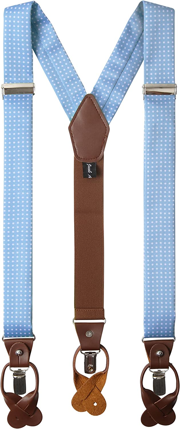 Forest Green Jacob Alexander Mens Polka Dot Y-Back Suspenders Braces Convertible Leather Ends and Clips