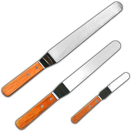 Amazon.com: BakeitFun Stainless Steel Angled Icing Spatula Set ...