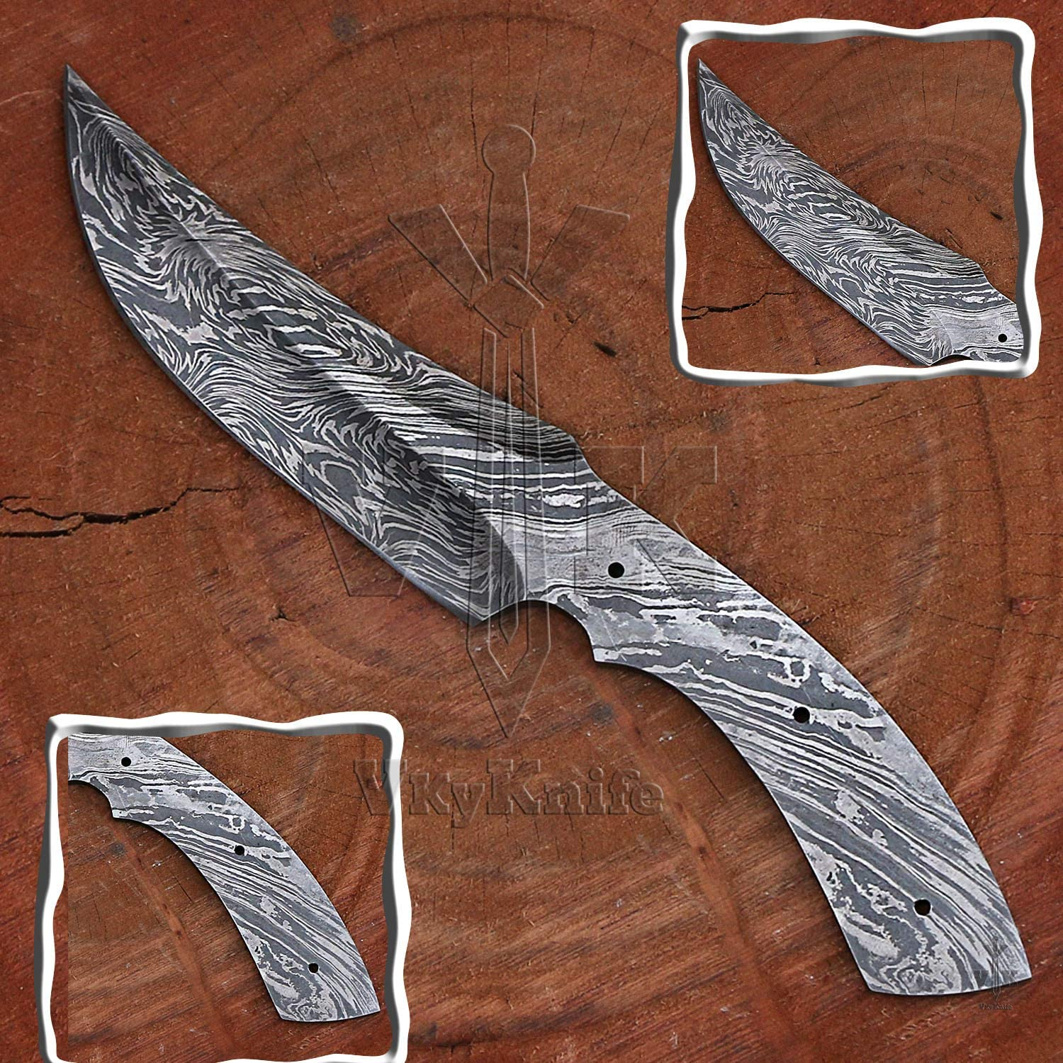 Amazon Com Handmade Damascus Steel Hunting Knife Blank Blade Fire Storm Pattern 9 5 Inches Vk2180 Sports Outdoors
