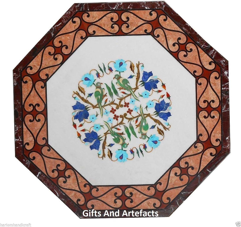 Gifts And Artefacts - Mesa de comedor de mármol octogonal blanco con incrustaciones de marquesina, arte con trabajo floral, Cottage Heritage Crafts, 30 pulgadas
