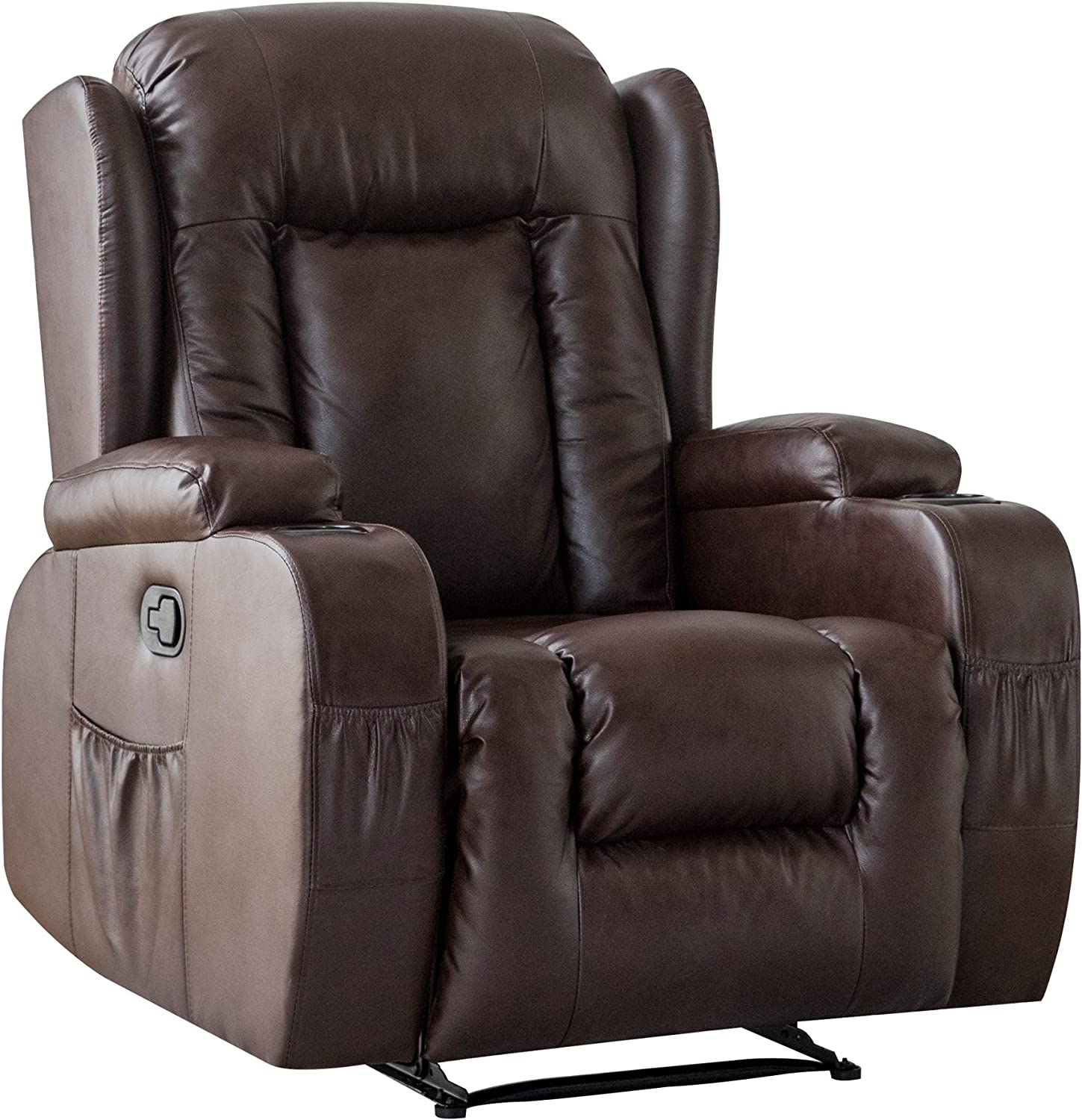 Recliner Chair Sofa PU Leather Chaise Lounge Indoor with Drink Holders for Living Room Home Theater Modern Seat (Coffee)