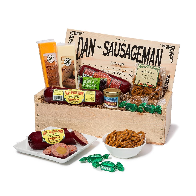 Dan the Sausageman's Mt. Rainier Gourmet Gift Basket -Featuring Dan's Summer Sausage, Wisconsin Cheeses, Dan's Sweet Hot Mustard and Seattle Truffles 81GoIJd8kHL