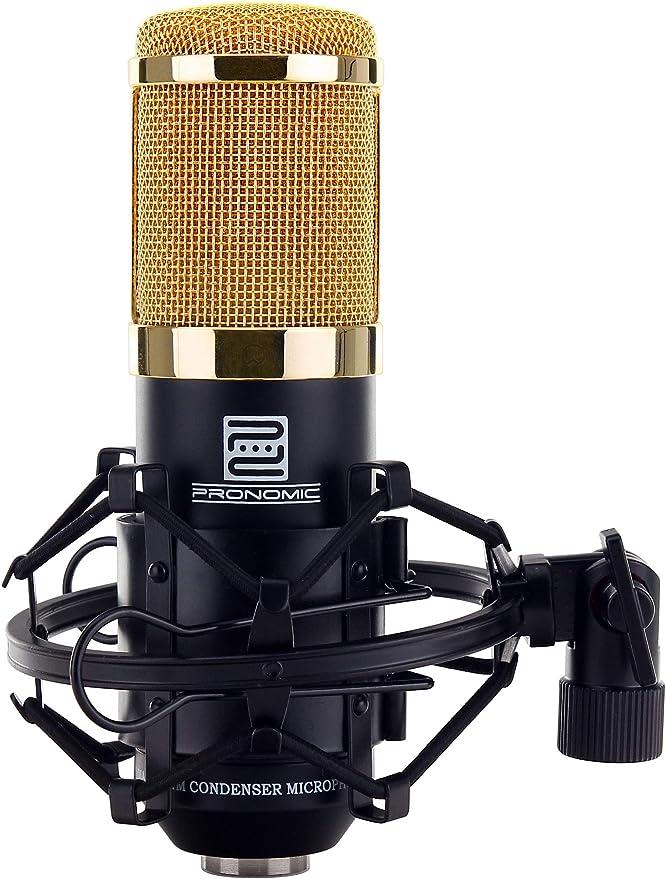 Pronomic CM-100BG micrófono de condensación de estudio incl. tripode, popscreen, pantalla micro y ca: Amazon.es: Instrumentos musicales