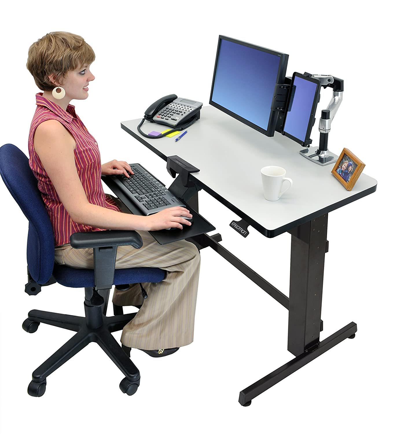 Amazon.com: Ergotron WorkFit D, Sit Stand Desk (light Grey): Computers U0026  Accessories