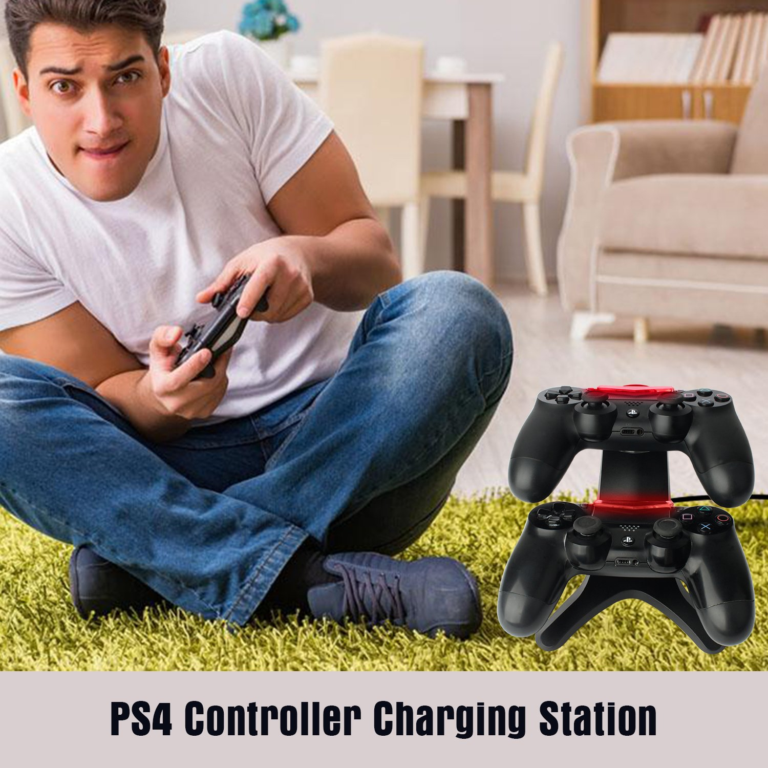 Y Team PS4 Controller Charging Station, PS4 Controller Charger Playstation 4 Controller Dual USB Charging Docking Station Stand PS4, PS4 Slim, PS4 Pro Controller