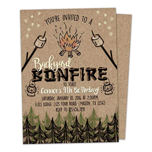 Amazon Bonfire Birthday Invitation Kraft Invite Outdoor