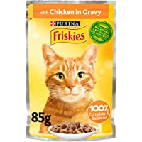 Purina Friskies Chicken Chunks in Gravy Wet Cat Food Pouch, Yellow, 85g, 26 Pouches