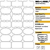 Mr-Label® 7 Tipi di fantasia Forma impermeabili Etichette adesive rimovibili - Adesivi antistrappo per la cucina Uso | Bottiglie | Stoccaggio | Organizzazione e Archiviazione (Dimensioni: 63,5 * 36,1 millimetri) (10 feuilles / totalement 210 étiquettes)