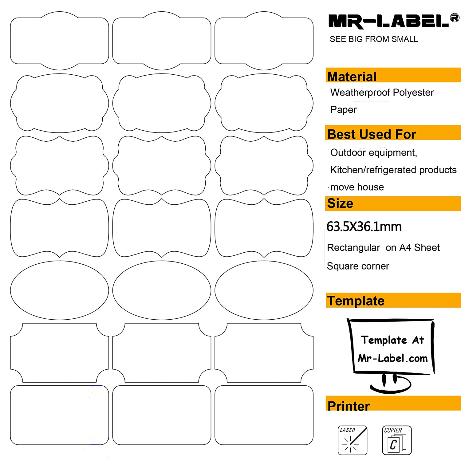 amazon com mr label waterproof removable adhesive food labels