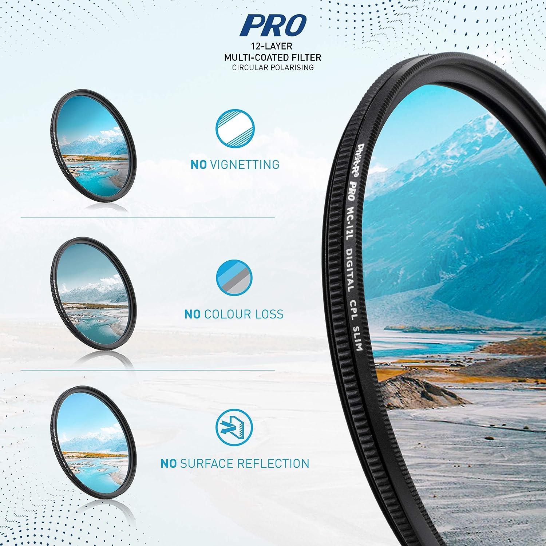 Phot-R 55mm PRO Multi-Layer UV Digital Filter Multi-Coated Ultraviolet Ultra Slim Screw In Filter Ultraviolet Protection Anti-Scratch Anti-Dust Water Repellent DSLR Camera Filter Microfibre Cloth